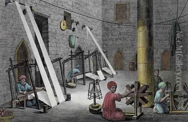 Interior of a Weaver's Workshop, from Volume II Arts and Trades of Description of Egypt 1822 Oil Painting - Nicolas Jacques Conte