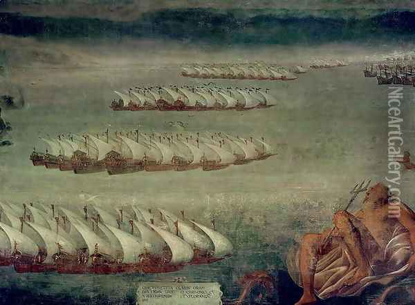 The Battle of Lepanto, 7th October 1571 Oil Painting - Luca Cambiaso
