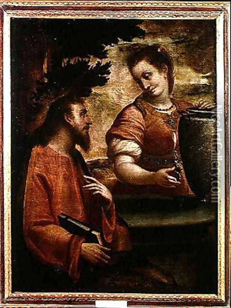 Christ and the Woman of Samaria, c.1575-80 Oil Painting - Luca Cambiaso