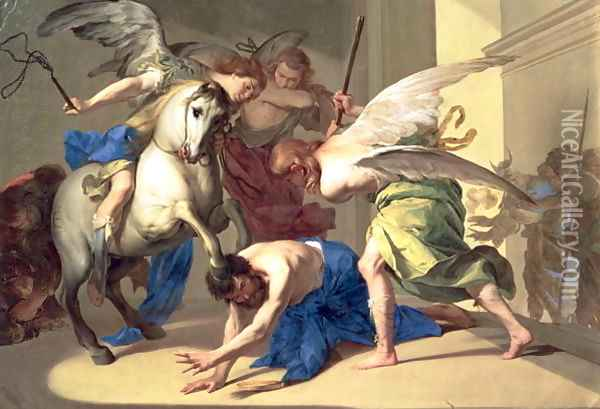 The Expulsion of Heliodorus from the Temple, c.1650 Oil Painting - Bernardo Cavallino