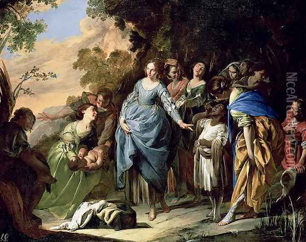 The Finding of Moses, c.1650-56 Oil Painting - Bernardo Cavallino