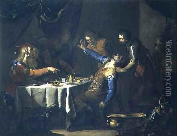 The Murder of Amnon by his brother Absalom Oil Painting - Bernardo Cavallino