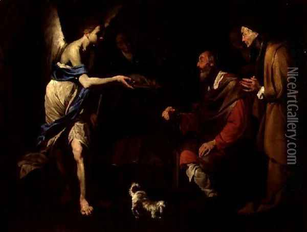 The Healing of Tobit by Tobias Oil Painting - Bernardo Cavallino