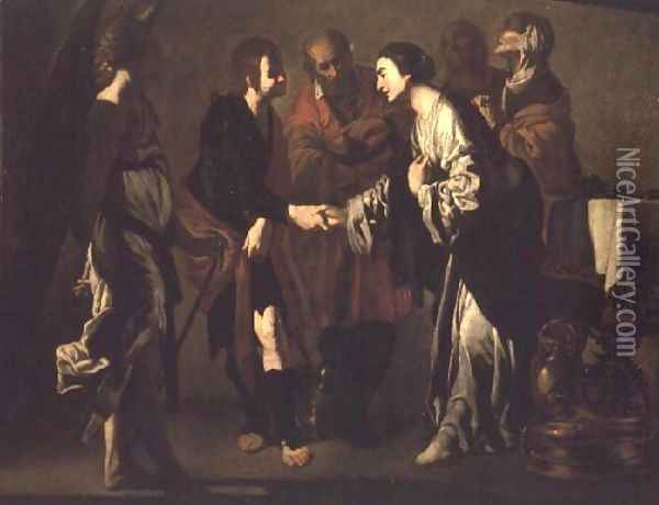 The Betrothal of Tobias Oil Painting - Bernardo Cavallino