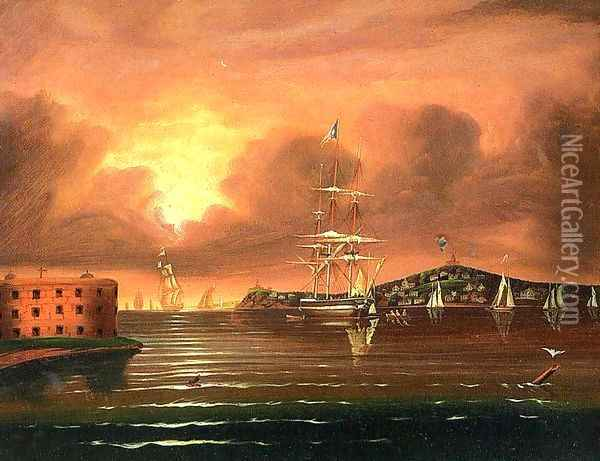 Threating Sky at the Bay of New York, 1800s Oil Painting - Thomas Chambers