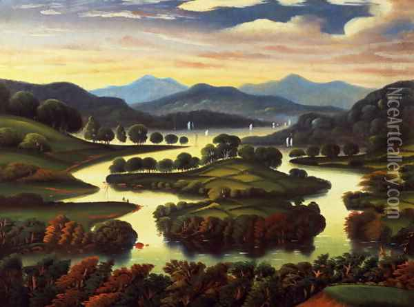 Landscape (possibly New York State) c.1850 Oil Painting - Thomas Chambers