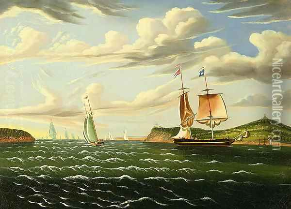 Staten Island and the Narrows, 1835-55 Oil Painting - Thomas Chambers