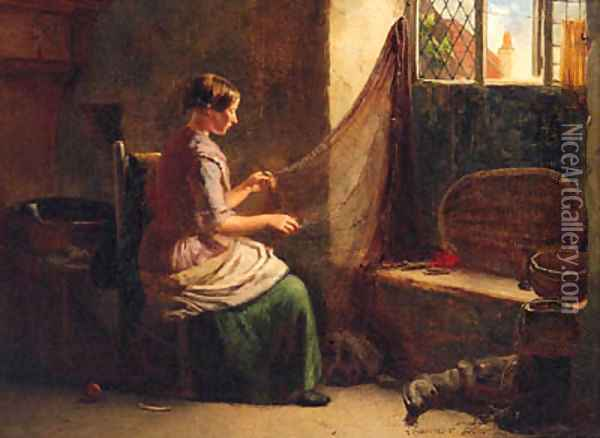 Mending The Nets Oil Painting - Thomas Chambers