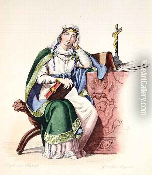 Heloise, illustration from 'Le Plutarque Francais', 1835 Oil Painting - Charles Abraham Chasselat