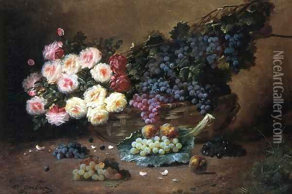 Still Life with Roses and Grapes Oil Painting - Max Carlier