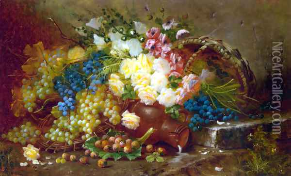 Still Life with Grapes and Roses Oil Painting - Max Carlier