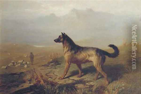 Guarding the flock in the Highlands, Scotland Oil Painting - Conradyn Cunaeus