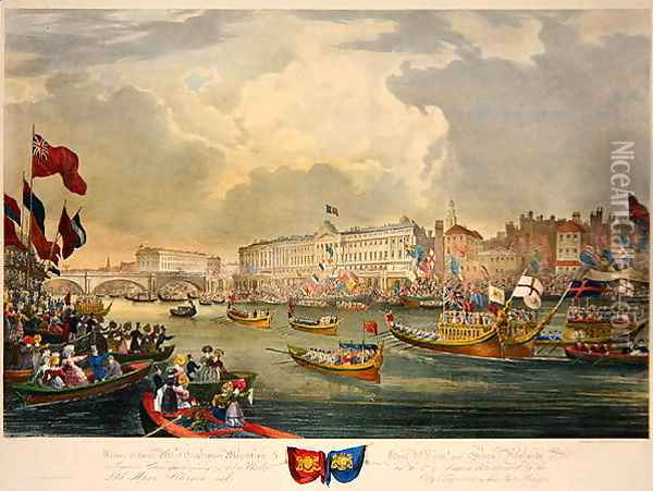 View of the River Thames during King William IV and Queen Adelaide opening London Bridge Oil Painting - Frederick Calvert