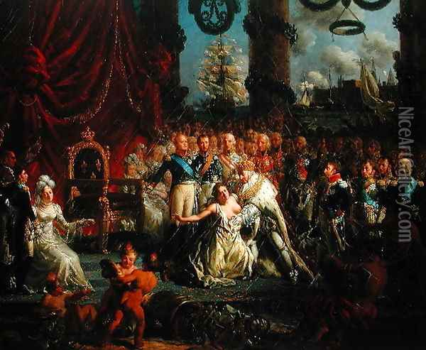 Louis XVIII (1755-1824) Helping France to her Feet, after 1814 Oil Painting - Louis Philippe Crepin