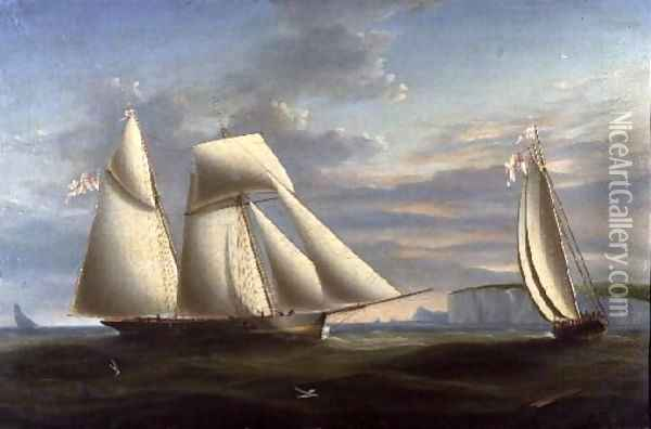 A topsail schooner and a schooner of the Royal Yacht Squadron off the coast of Dorset Oil Painting - Nicholas Condy