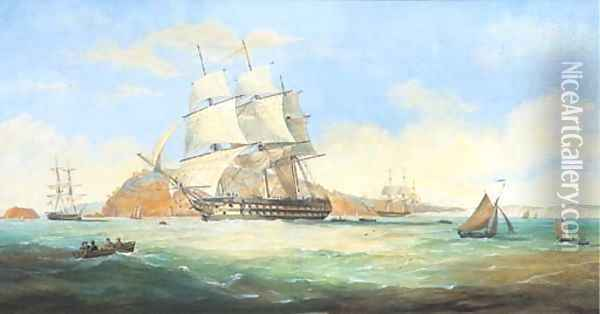 A two-decker running down Plymouth Sound with Mt. Edgcumbe beyond Oil Painting - Nicholas Condy