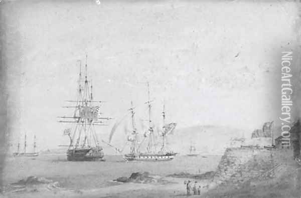 A British frigate getting under way off a Chilean fortress, a British two-decker and a French frigate anchored nearby Oil Painting - Nicholas Condy