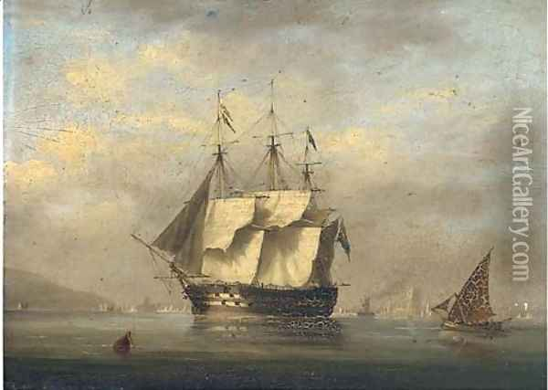 A British two-decker arriving at Lisbon and preparing to anchor with the Belem Tower off her stern Oil Painting - Nicholas Condy