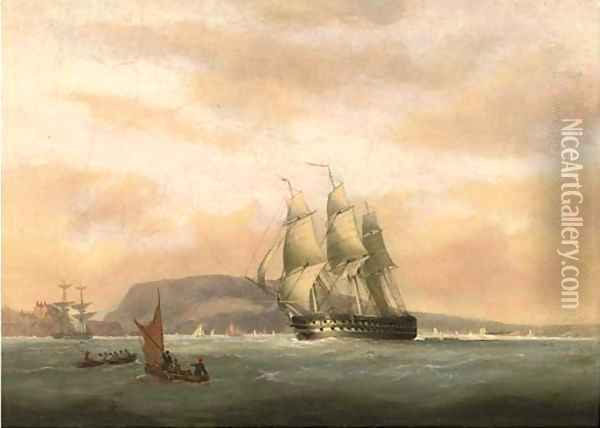 A 74-gun heeling in the breeze in Plymouth Sound Oil Painting - Nicholas Condy