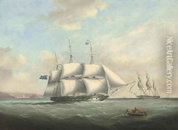 H.M.S. Pique emerging from Plymouth Sound and exchanging signals with an in-bound frigate off her port bow Oil Painting - Nicholas Condy