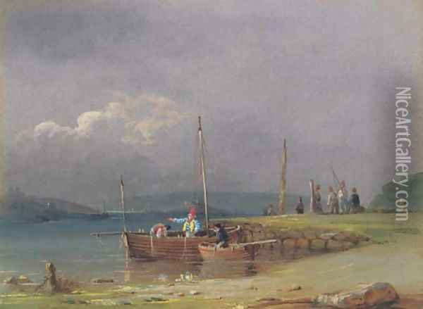 Plymouth Hoe and Drake's Island from Cremyll Point Oil Painting - Nicholas Condy
