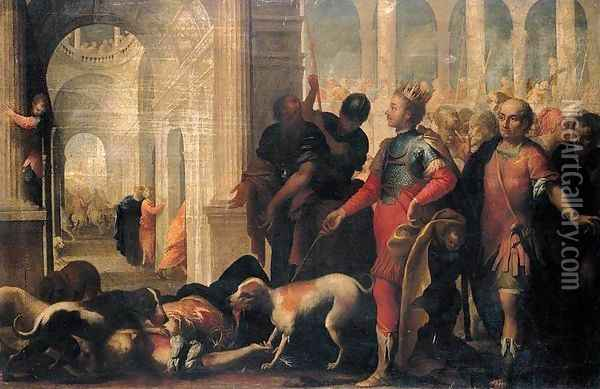 Queen Jezabel Being Punished by Jehu Oil Painting - Andrea Celesti