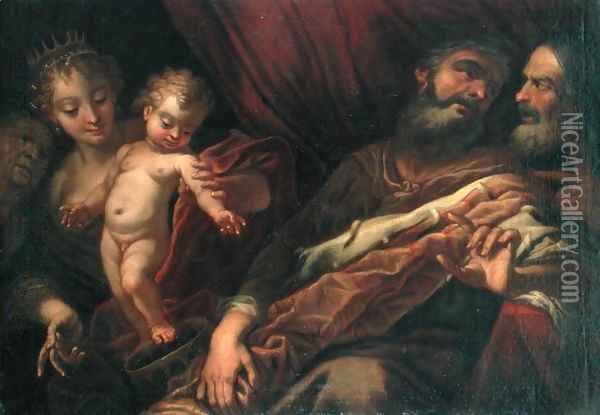 The Infant Moses Standing on the Pharaoh's Crown Oil Painting - Andrea Celesti
