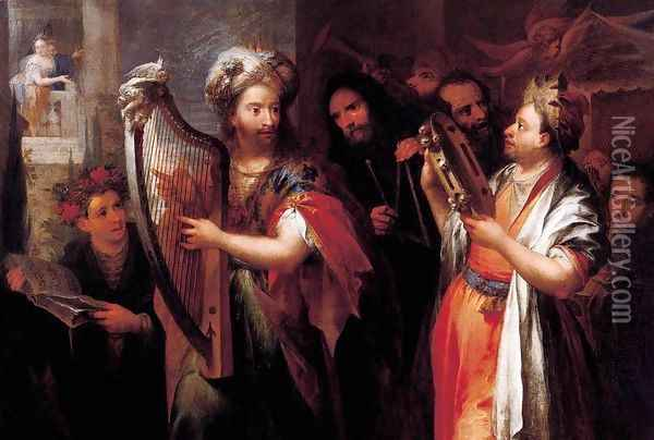 King David Playing the Zither Oil Painting - Andrea Celesti