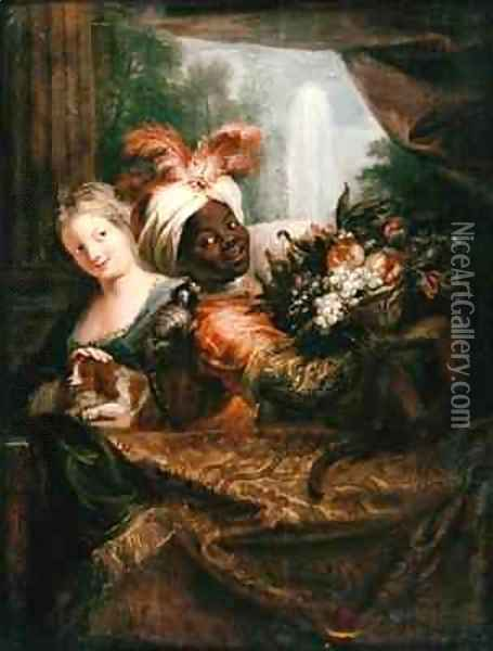 Young Black Man Holding a Basket of Fruit and a Young Girl Stroking a Dog Oil Painting - Antoine Coypel