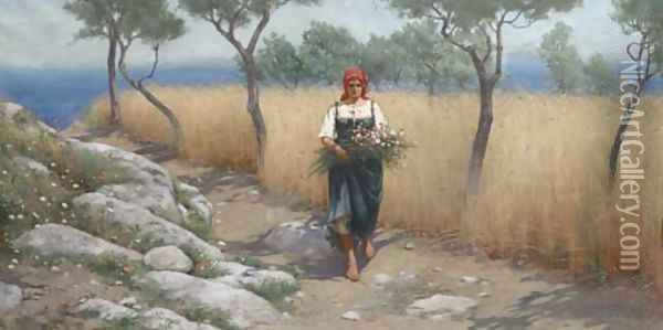Summer Flowers, Capri Oil Painting - Charles Caryl Coleman