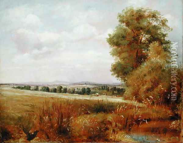 Landscape at Hampstead with Harrow in the Distance, c.1849-55 Oil Painting - Lionel Constable