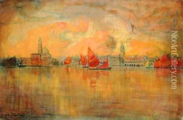 View of Venice from the Sea, 1896 Oil Painting - Charles Cottet