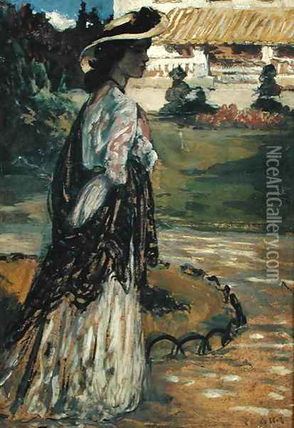 Woman in a Park Oil Painting - Charles Cottet