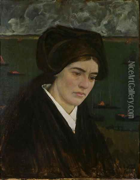 Young Woman at Ile de Sein, 1909 Oil Painting - Charles Cottet