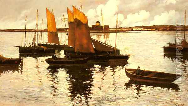 Sunset over the Sails, 1892 Oil Painting - Charles Cottet