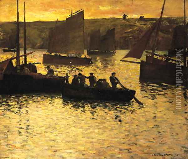 In the Port, 1895 Oil Painting - Charles Cottet