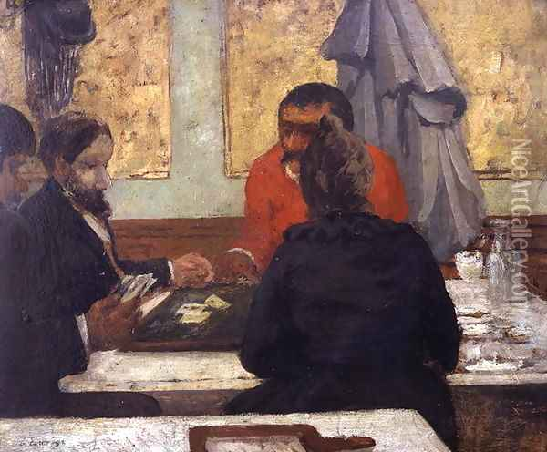Card Players, 1883 Oil Painting - Charles Cottet
