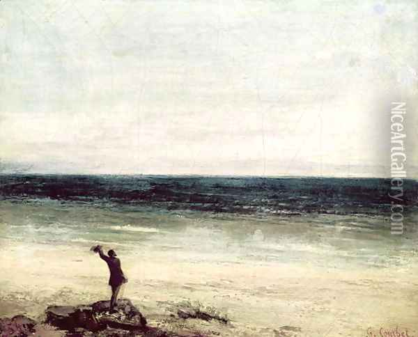The Artist on the Seashore at Palavan Oil Painting - Charles Cottet