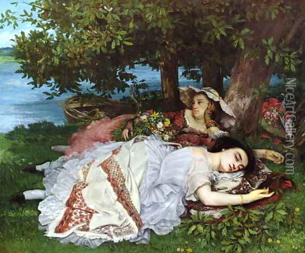 Girls on the Banks of the Seine 1856 57 Oil Painting - Charles Cottet
