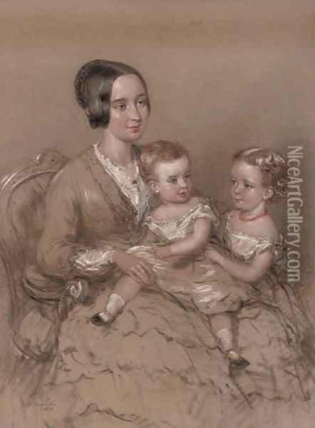 A mother with her children Oil Painting - Margaret Sarah Carpenter