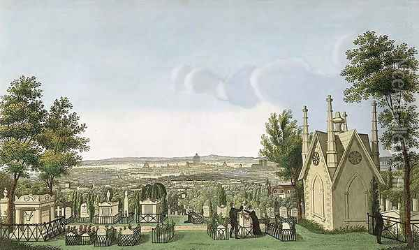 View of Pere-Lachaise Cemetery from the Gothic Chapel Oil Painting - Henri Courvoisier-Voisin