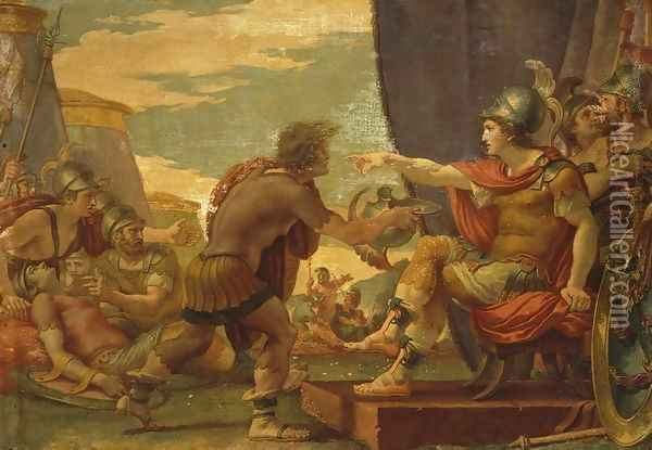 Alexander the Great Refuses to Take Water Oil Painting - Giuseppe Cades