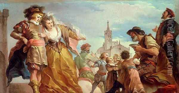 The Meeting of Gautier, Count of Antwerp, and his Daughter, Violante Oil Painting - Giuseppe Cades