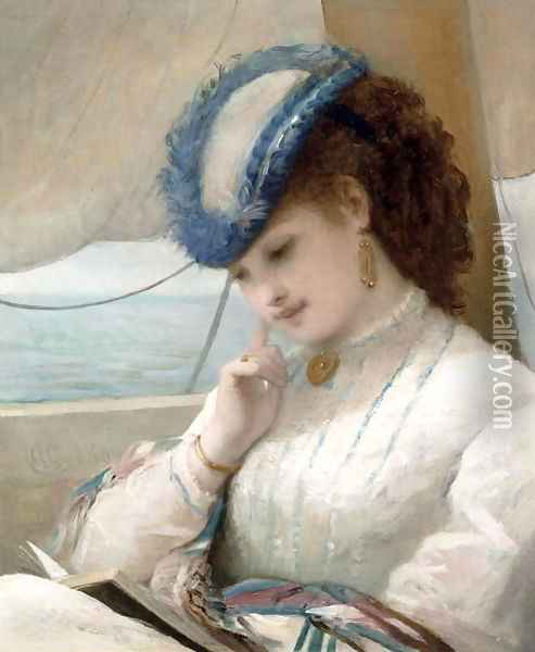 A Girl Reading in a Sailing Boat, 1869 Oil Painting - Alfred Chantrey Corbould