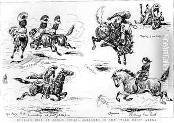 Sketches from Buffalo Bills Wild West Show at Earls Court Oil Painting - Alfred Chantrey Corbould
