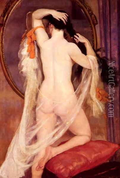 Nu Au Miroir (Nude before a Mirror) Oil Painting - Henry Caro-Delvaille