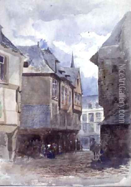 A Street in Dinan, France Oil Painting - William Linnaeus Casey