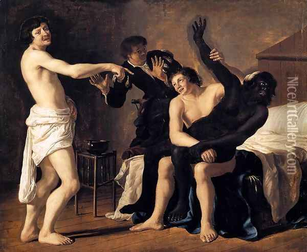 Three Young White Men and a Black Woman 1632 Oil Painting - Christiaen van Couwenbergh