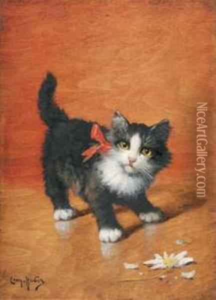 Chaton A La Paquerette Oil Painting - Leon Charles Huber