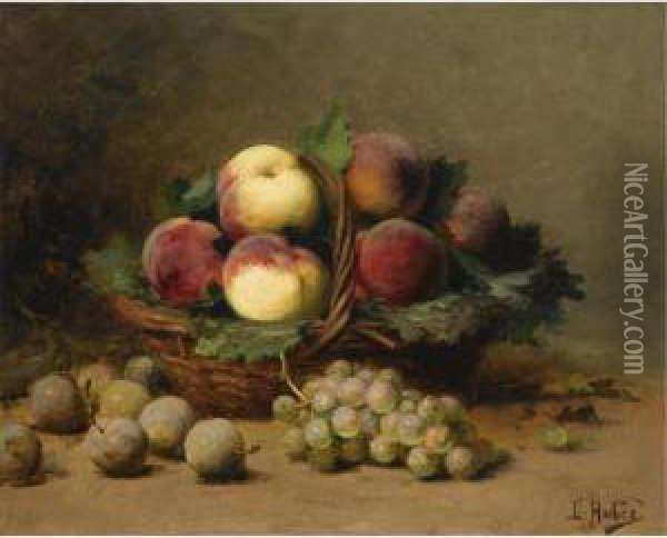 Still Life With Peaches In A Basket Oil Painting - Leon Charles Huber